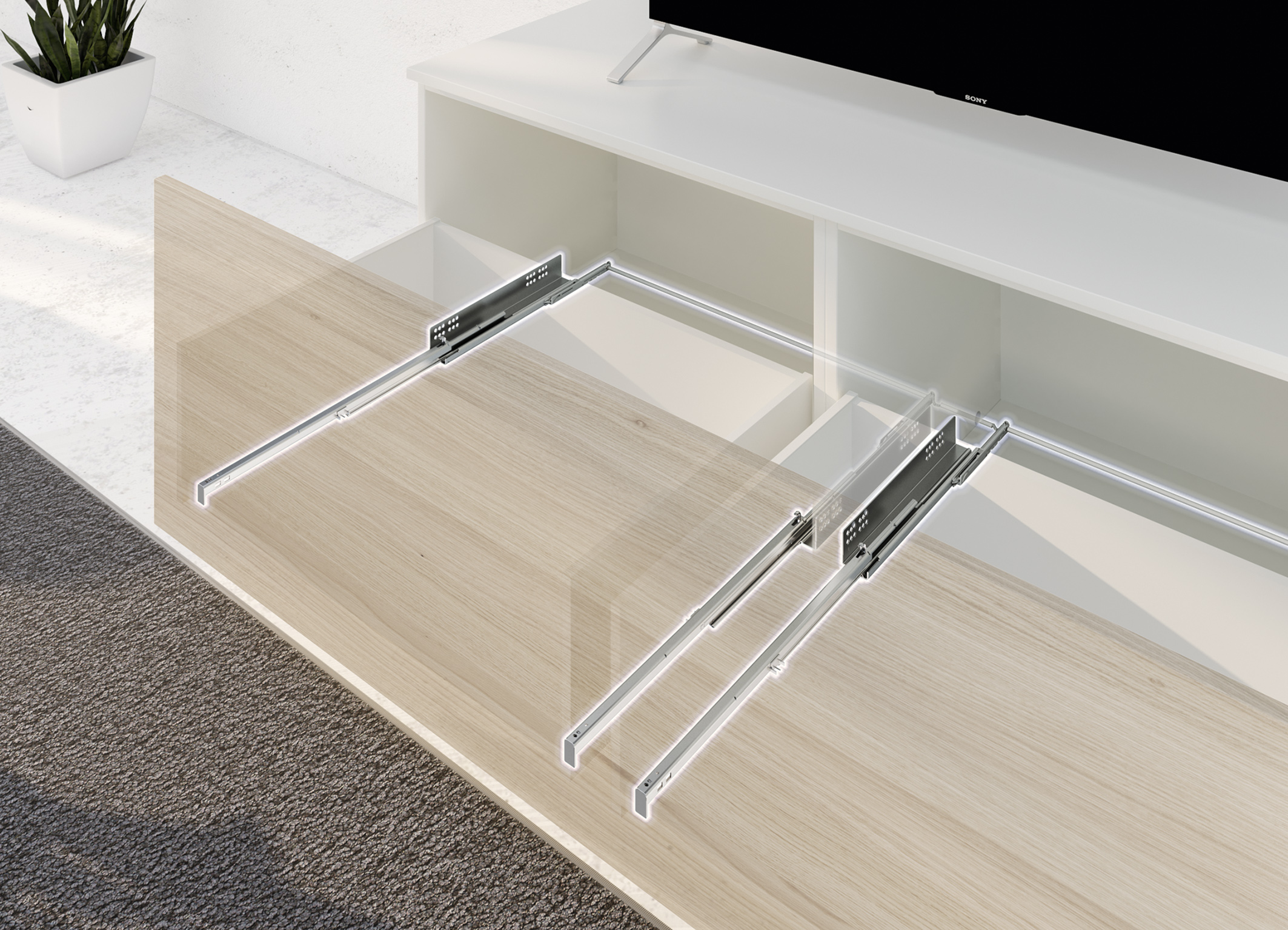 Hettich Quadro with synchronised Push to open mechanism
